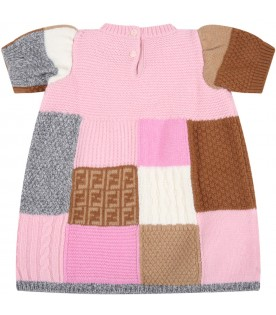 Multicolor dress for baby girl with logo