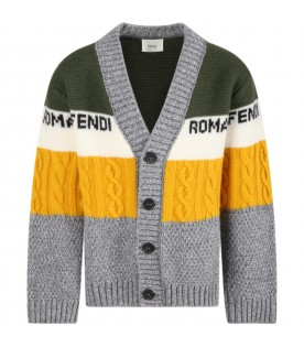 Multicolor cardigan for kids with logos