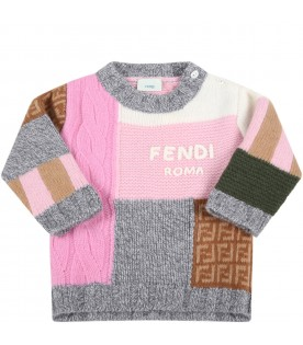 Multicolor sweater for baby girl with logo