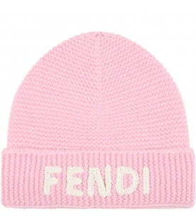 Pink hat for girl with white logo