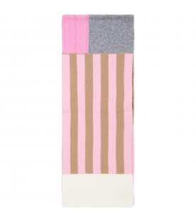 Multicolor scarf for girl with white logo