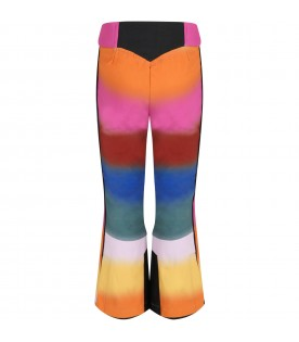 Multicolor pants for girl witth logo