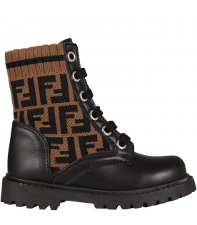 Black boots for kids with double FF