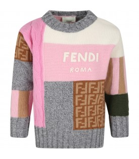 Multicolor sweater for girl with logo