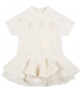 Ivory dress for baby girl with logo