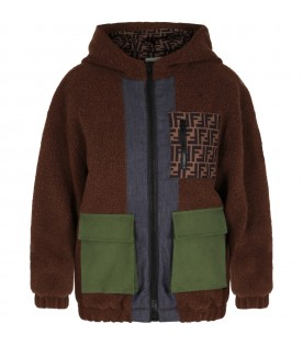 Brown coat for kids with iocni patches