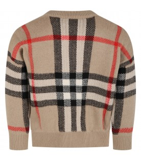 Beige sweater for kids with vintage checks