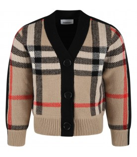 Beige cardigan for kids with vintage checks