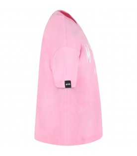 Pink t-shirt for kids with logo