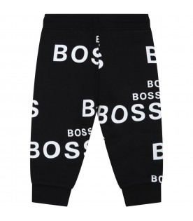 Black sweatpants for baby boy with logos