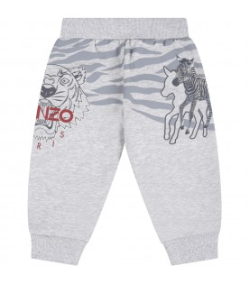 Grey sweatpant for baby boy with tigers