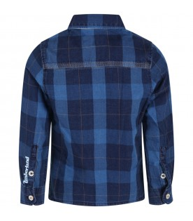 Blue shirt for kids with patch
