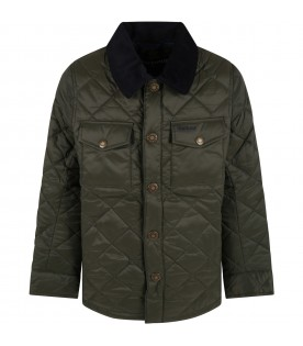 Green jacket for boy with logo