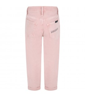 Pink jeans for girl with logo