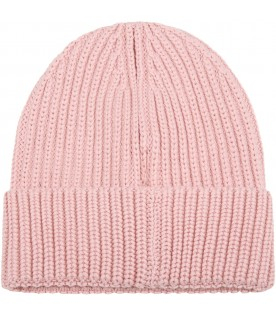 Pink hat for girl with logo