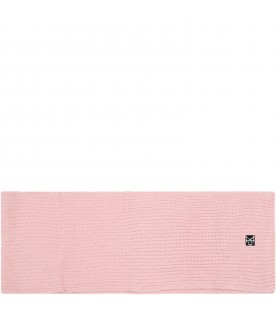 Pink scarf for girl with logo