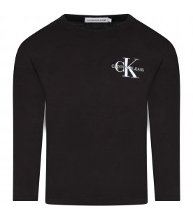 Black t-shirt for kids with double logo