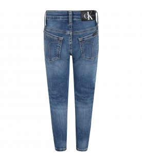 Light blue jeans for boy with logo