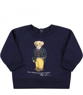 Blue sweatshirt for baby boy with iconic bear