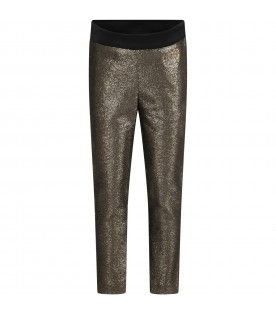 Gold trouser for girl with logo