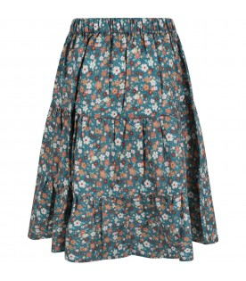 Green skirt for girl with flowers