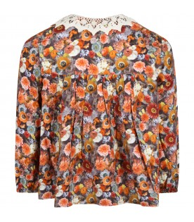 Multicolor blouse for girl with flowers