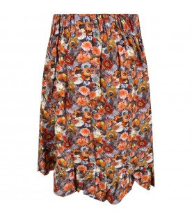 Multicolor skirt for girl with flowers