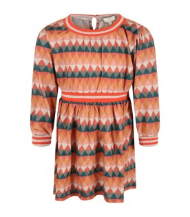 Multicolor dress for girl with triangles