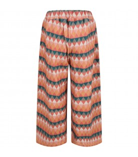 Multicolor trouser for girl with triangles