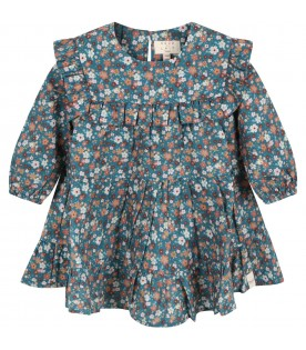 Green dress for baby girl with flowers