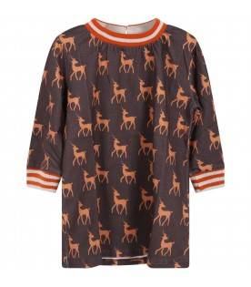 Brown dress for baby girl with deers