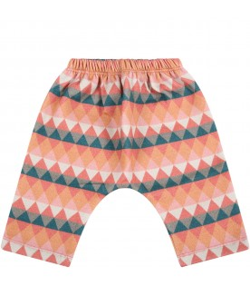 Multicolor sweatpants for baby kids with triangles