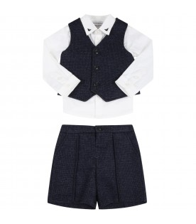 Multicolor suit for baby boy with logo