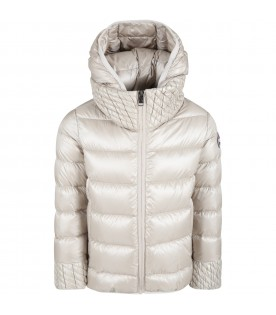 Beige jacket for girl with logo