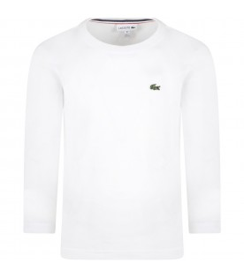 White T-shirt for boy with iconic crocodile