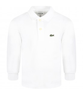 White polo shirt for boy with green crocodile