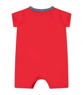 Red romper for baby boy with logo