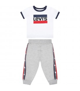 Multicolor suit for baby boy with logos