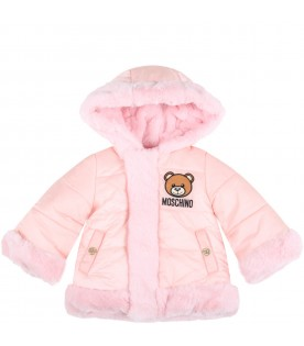 Pink jacket for baby girl with teddy bear