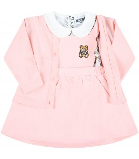 Multicolor set for baby girl with teddy bears