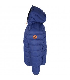 Royal blue jacket for boy with logo
