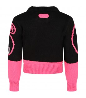 Multicolor turtleneck for girl with logo