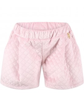Pink short for girl with logo