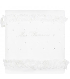 White blanket for baby girl with logo