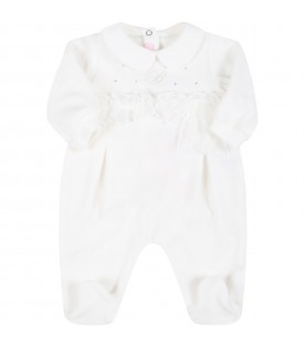 White babygrow for baby girl with bow