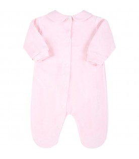 Pink babygrow for baby girl with bow