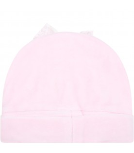 Pink hat for baby girl with bow