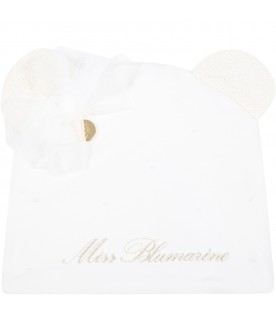 White hat for baby girl with ears