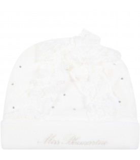 White hat for baby girl with bow
