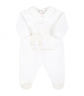 White babygrow for baby girl with deers